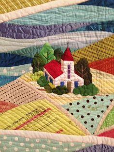Quilted church in fields Map Quilt, Bird Quilt, Patch Quilt, House Quilt Patterns, House Quilts, Small Quilts, Mini Quilts, Patchwork Quilting, Applique Quilts