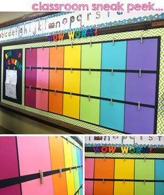 classroom decor student work display - clothespins with push pins hot glued on back on top of colorful scrapbook paper New Classroom, Classroom Setup, Classroom Design, Classroom Displays, Kindergarten Classroom, Year 3 Classroom Ideas, Art Classroom Decor, Preschool Bulletin, Montessori Elementary