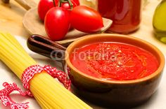 delicious tomato sauce, with pasta and ingredients
