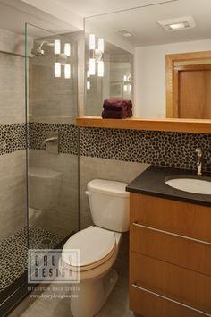 Contemporary Bath with beautiful tile backsplash by Drury Design Kitchen & Bath Studio, via drurydesigns.com