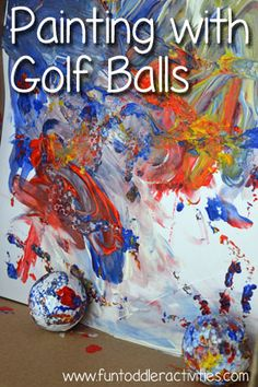 Using golf balls to paint - such a fun experience!