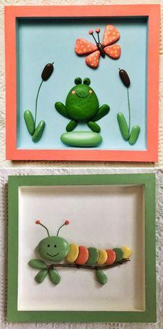 MENTŐÖTLET - kreáció, újrahasznosítás: Egyszerű kavicsképek gyerekszobába Sea Glass Crafts, Pebble Art, Crafts For Kids, Frame, Diy, Stones, Home Decor, Stone Crafts, Creative