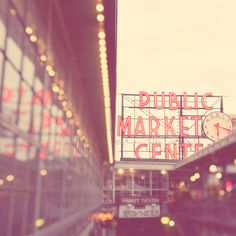 Seattle photography, Pike Place Market, Elliott Bay, photo of downtown Seattle Washington, travel landmark, bokeh, red retro sign. by MyanSoffia.etsy.com