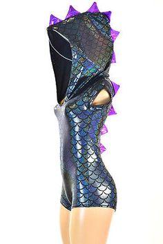 Black-Dragon-Scale-Spiked-Hoodie-Romper-with-Grape-Purple-Spikes-Cap-Sleeves