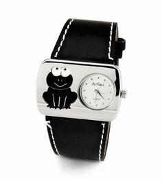 Ladies Frog Black Leather Band Silver Tone Wristwatch Da Vinci. Save 72 Off!. $17.99