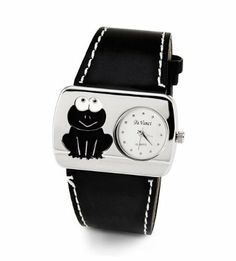 Ladies Frog Black Leather Band Silver Tone Wristwatch Da Vinci. Save 72 Off!. $17.99