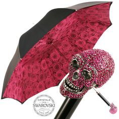 Cristallo Double Canopy Umbrella with Pink Swarovski Crystal Skull Handle by Pasotti