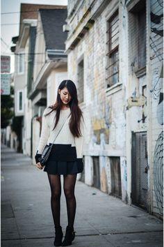black Steve Madden boots - ivory madewell sweater