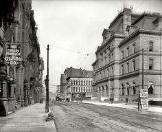 """Toledo, Ohio, circa """"Post Office on St."""" x inch dry plate glass negative, Detroit Publishing Company. Victorian Buildings, Time Pictures, Ohio Usa, Toledo Ohio, High Resolution Photos, Post Office, Abandoned Places, Historical Photos, American History"""