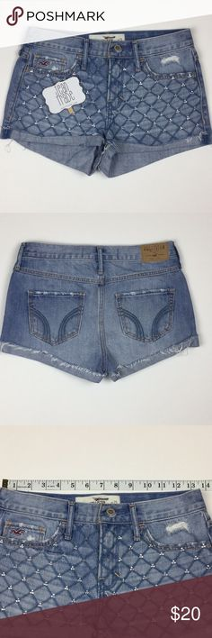 Hollister Embellished Lattice Print Jean Shorts Hollister Embellished Lattice Print Jean Shorts -  GUC Hollister Shorts Jean Shorts