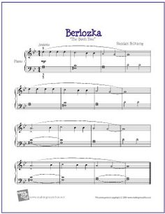 Beriozka (The Birch Tree) | Free Sheet Music for Easy Piano - http://makingmusicfun.net/htm/f_printit_free_printable_sheet_music/the-birch-tree-piano.htm