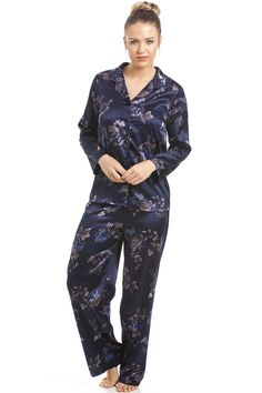 Floral Print Navy Full Length Satin Pyjama Set ee810d3692be0