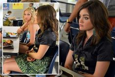 Aria's green patterned skirt and cropped black jacket on Pretty Little Liars.  Outfit Details: http://wornontv.net/4002/ #PrettyLittleLiars