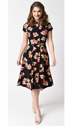 1930s Style Black & Sicilian Sweet Peas Cap Sleeve Polly Swing Dress