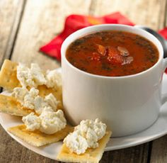 {Mediterranean Tomato Soup with Feta Topped Crackers} Herb-infused feta cheese tops the crisp crackers served with this warm, chunky tomato soup.Herb-infused feta cheese tops the crisp crackers served with this warm, chunky tomato soup. Side Dish Recipes, Veggie Recipes, Healthy Recipes, Snacks Recipes, Recipies, Home Recipes, Fall Recipes, Cooking Recipes, Crock Pot Soup