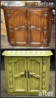 Instead of throwing out old furniture, paint over it to make it look new or antique. Furniture Fix, Do It Yourself Furniture, Refurbished Furniture, Repurposed Furniture, Furniture Projects, Furniture Making, Furniture Makeover, Home Projects, Painted Furniture