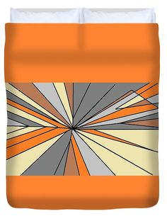 Duvet Cover of 'Burst of Orange 4' by Sumi e Master Linda Velasquez. All My Apparel in SHOP at top of site.