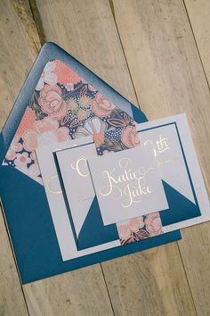 I'm dying over this color scheme! ADELE Suite Floral Package, navy and coral, rose gold foil stamping, luxury wedding invitations, floral, blush