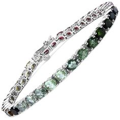 Olivia Leone Sterling Silver 12 3/4ct Multi-tourmaline Bracelet ($188) ❤ liked on Polyvore featuring jewelry, bracelets, brown, polish jewelry, sterling silver bangles, colorful bangles, sterling silver jewellery and brown jewelry
