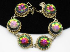 Vintage SCHIAPARELLI Bracelet Watermelon Tourmaline 6 Link from atouchofrosevintagejewels on Ruby Lane