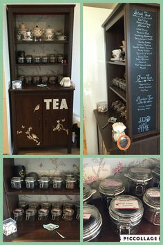 My tea bar! IKEA Brusali high cabinet, wallpaper backing & decoration, and chalk board menu. Different jars used to hold 24 different teas, labels by kikki.K to make them pretty! Plans include painting it with chalk paint. :)