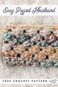 Free Crochet Headband Pattern - Cozy Crochet Winter Headband Pattern - - Use this free crochet headband pattern to make a crochet head band! This crochet puff stitch headband is written in mulitple sizes. Crochet Ear Warmer Pattern, Quick Crochet Patterns, Crochet Simple, Crochet Headband Pattern, Chunky Crochet, Crochet Beanie, Knitted Headband, Free Crochet, Easy Patterns
