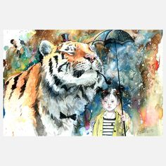 #9 This print utilizes complementary colors (blue and orange) in the tiger and sky/background color behind the girl. The effect given helps move the viewers eye over both the girl and tiger. Without the use of the complementary blue tone behind the young girl, the viewer may be stuck looking at the large orange tiger with a pipe in its mouth and ignore the girl all together as the tones used on her are very muted and subdued.