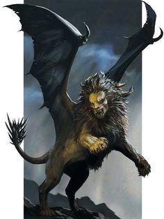 Androesfinge cuerpo de León macho alado de cara de hombre