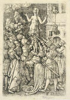 Daniel Hopfer, kiedyś: św Agnieszka, obecnie: Ysifile/Febilla z płonącym kroczem, miedzioryt, przed 1536.