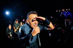 """naughty-bruce-springsteen: """"That time Bruce & Jake got lost and couldn't find their way back to the stage lol (Santiago 2013) """""""