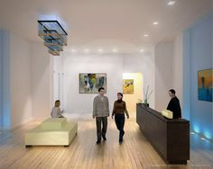 1330 lobby illustration and art gallery rendering.