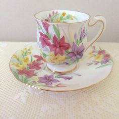 Royal Standard Fine Bone China, Garden Glory, Vintage Coffee Cup and Saucer, Small Vintage Cup and Saucer, Vintage Tea Cup, Vintage China https://www.etsy.com/uk/listing/518951764/royal-standard-fine-bone-china-garden