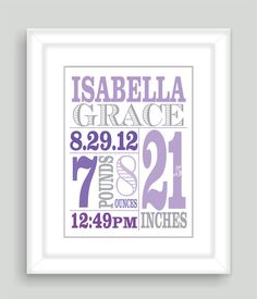 Printable DIY Baby Birth Stats 8x10 Newborn Personalized Custom Girl Art Print Gift - Digital JPEG PDF File. $15.00, via Etsy.