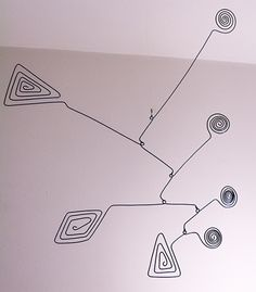Angles and Circles. Wire mobile about 20 inches high and a bit less than that in width.