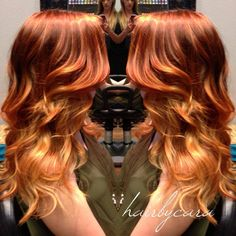 reddish blonde ombre by Cara Does Hair