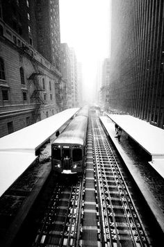 black and white train in N.Y.