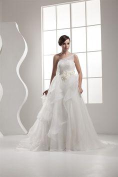 Ein Träger a linie Tüll Leben bodenlanges Brautkleid mit Rücken Schnürung - Bild 1