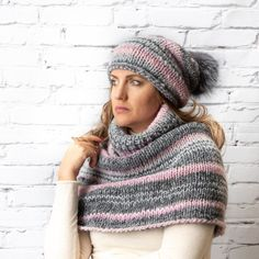 8b197bf11a8 Grey knit hat with real fur pompom and cowl scarf winter set women Knit  Beanie Hat