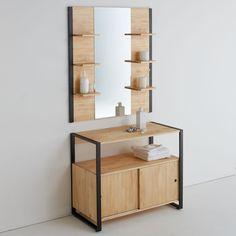 Miroir de salle de bains, pin massif & métal, hiba naturel La Redoute Interieurs | La Redoute