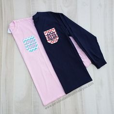 Monogrammed Pocket Crew T-Shirt Long Sleeve