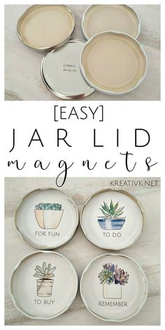jar lid magnets and succulent printable