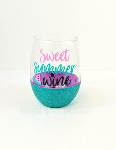This Sweet summer wine glitter dipped wine glass the perfect accessory for summertime! This glass is specially dipped with your choice of pink or red inside, with seed and a green or turquoise exterior! We can do any and all phrases of your choosing. These make great gifts for