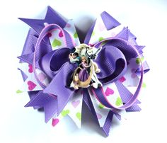 Boutique Disney Tangled Rapunzel Hair Bow Clip w Planar Resin Center by prettybowtique on Etsy
