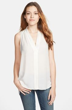 Pair TRANSCEND Paige Jeans with a classic blouse for a simple yet polished look - Vince Camuto Sleeveless V-Neck Blouse (Regular & Petite) | Nordstrom