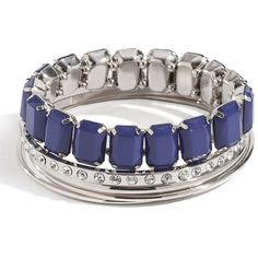 GUESS Blue Beaded Bangle Set ($35) ❤ liked on Polyvore