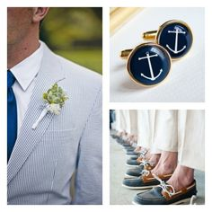 groomsmen sperrys and cufflinks/ the boutonniere without the sailing rope but same flower as the grooms