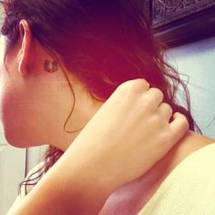 My tattoo :) behind the ear, lucky horseshoe, equestrian life love it