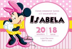 Minnie Mouse, Rosa Pink, Party Tables, Birthday, Invitation Templates, Invitations, Meet, Cute, Flowers