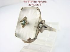 NEW Med Art Deco Sterling Silver 925 Camphor Glass Emerald Filigree Ring SZ 7.75 #Unbranded