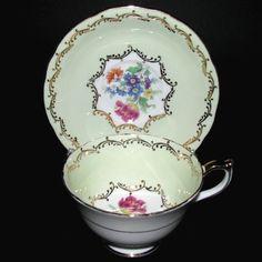 Aynsley Green Gilt Floral Teacup